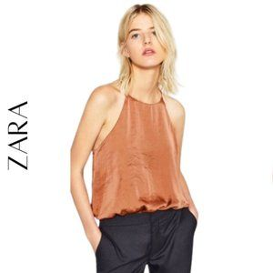 ZARA COLLECTION Rose Gold Bodysuit, Size Small